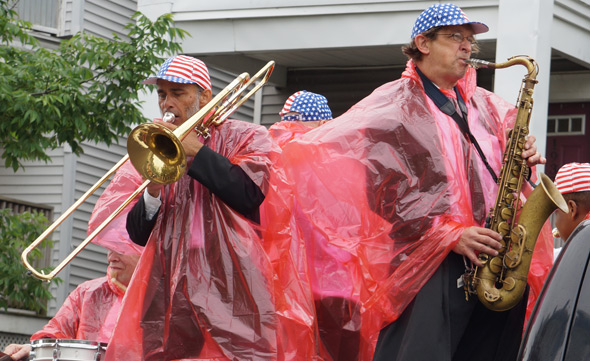 Covered jazz players in Dorchester Day parade