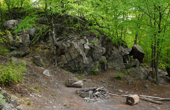 Rock outcropping in Stony Brook Reservation