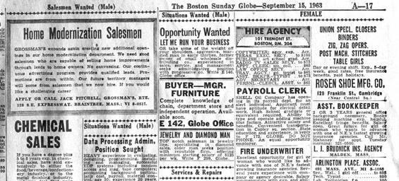Old Globe help-wanted ads