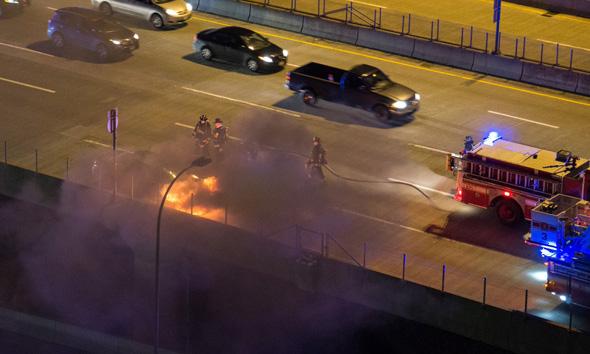 Car on fire on I-93
