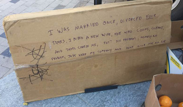 Dewey Square seeks wife, fat OK, but no lip