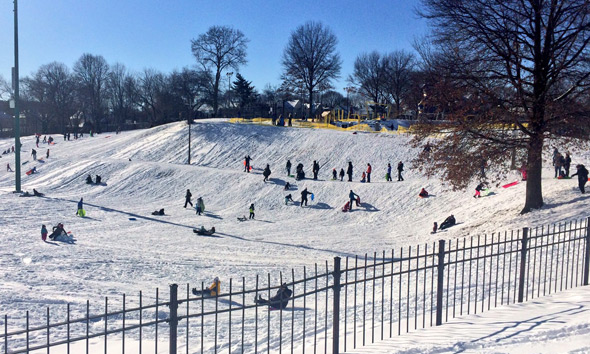 Sledders at Fallon Field in Roslindale