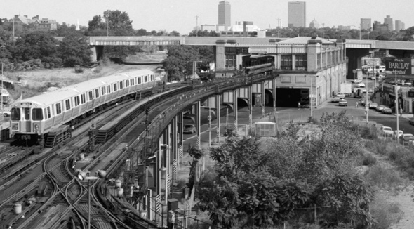 Old Forest Hills Orange Line train yard
