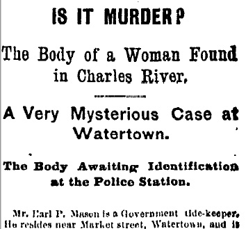 Woman's body found in Charles River - 1878