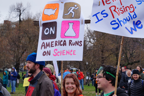 At march for science: America runs on science