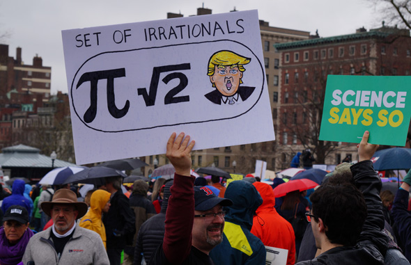 At march for science: Irrational things