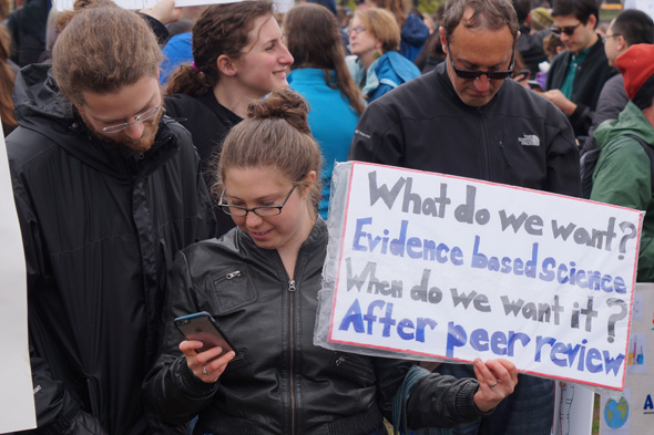 At march for science: Peer review