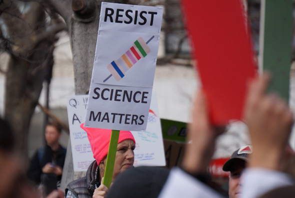 Science protester in Copley Square