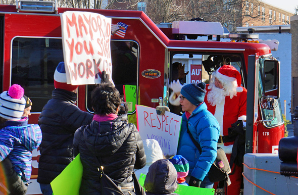Santa and protesters