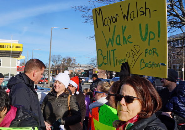 Walsh and protesters