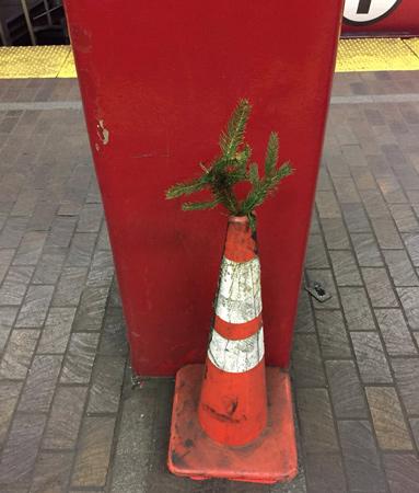 Charlie Brown tree in Boston subway station