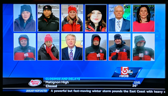 12 reporters and weather people on a screen