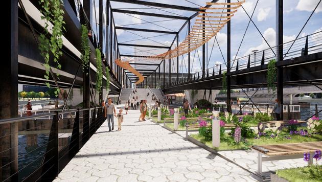 Lower level of proposed bridge