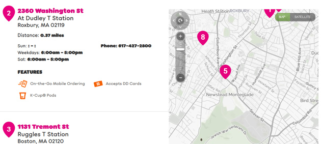Newstead Monteglade on a Dunkin' Donuts map