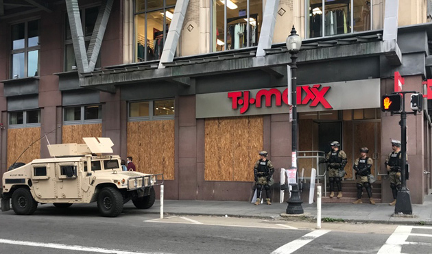 National Guard protect the TJ Maxx