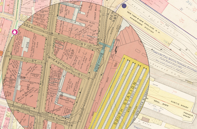 South Station on old maps