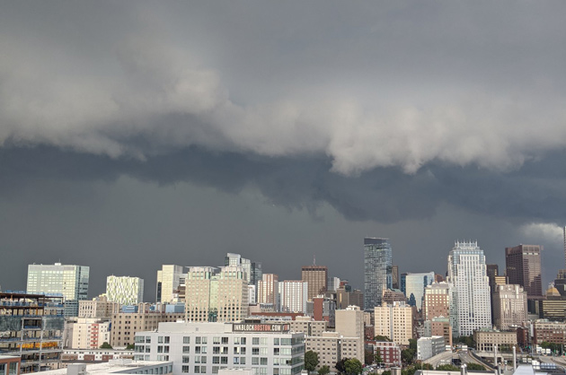 Storm clouds over downtown Boston